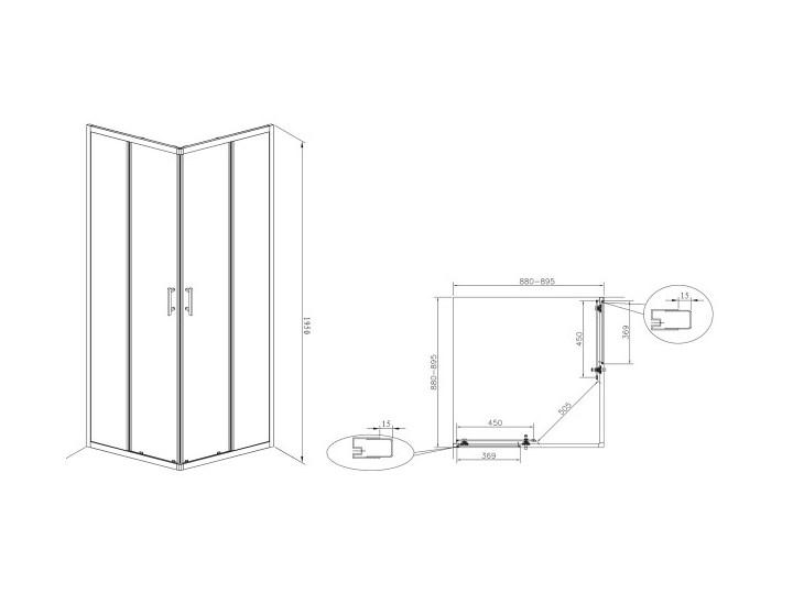 Roca Town Square kabina prysznicowa kwadratowa 90 cm AMP2609012M Wysokość 195 cm Rodzaj drzwi Rozsuwane