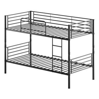 Łóżko piętrowe rozkładane - czarne, metalowe 90X200 - HADSON
