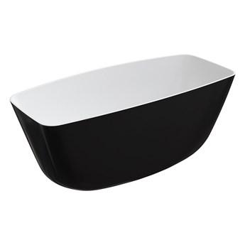 Ferrara Marble+ wanna wolnostojąca biały/czarny połysk 156 cm FERRARA156BCP