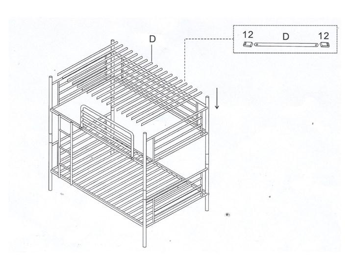 ŁÓŻKO METALOWE PIĘTROWE ROZKŁADANE 80x200 - HADSON - CZARNY Łóżko piętrowe Rozmiar materaca 80x200 cm