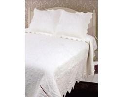 Narzuta bawełniana ornamentowa jednolita biała 160x220