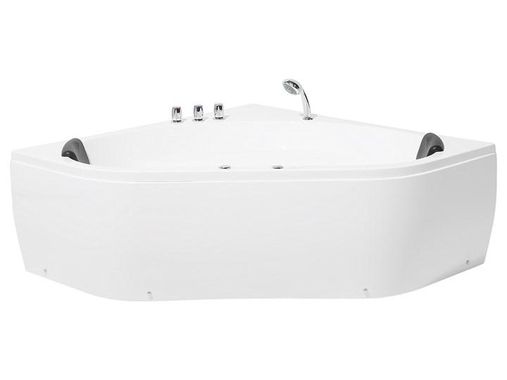 Wanna z hydromasażem biała narożna 55 x 140 cm wolnostojąca oświetlenie LED Wolnostojące Symetryczne Akryl Stal Kolor Biały