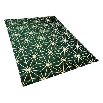 Dywan zielony ze złotym geometrycznym wzorem wiskoza z bawełną 160 x 230 cm do sypialni salonu styl nowoczesny glamour