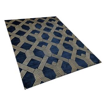 Dywan niebieski ze złotym geometrycznym wzorem wiskoza z bawełną  160 x 230 cm styl nowoczesny glamour