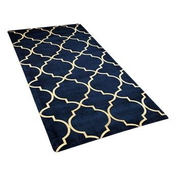 Dywan niebieski ze złotym wzorem marokańska koniczyna wiskoza z bawełną  80 x 150 cm styl nowoczesny glamour