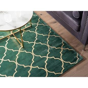 Dywan zielony ze złotym wzorem marokańska koniczyna wiskoza z bawełną 160 x 230 cm styl nowoczesny glamour