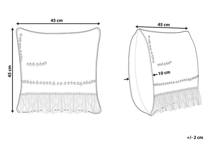 Poduszka dekoracyjna beżowa bawełniana z frędzlami 45 x 45 cm z wypełnieniem ozdobna akcesoria boho retro salon sypialnia 45x45 cm Kwadratowe Bawełna Poszewka dekoracyjna Kolor Beżowy