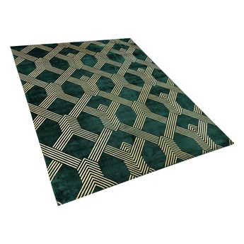 Dywan zielony ze złotym geometrycznym wzorem wiskoza z bawełną  160 x 230 cm styl nowoczesny glamour