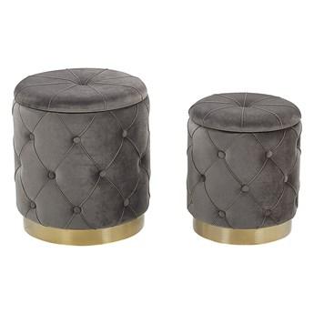 Zestaw pufów ze schowkami szare tapicerowanie welurowe złota baza duży pojemnik ozdobne guziki retro design