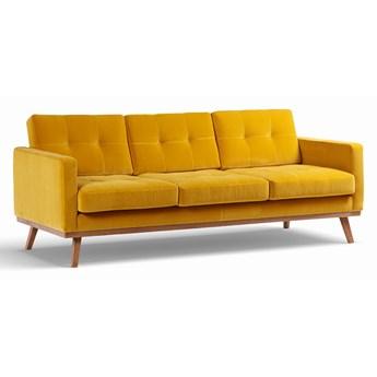 Sofa Fern 3-osobowa Welurowa z funkcją spania (Welur bawełna 100% MUSZTARDOWY 2219 :welur/MUSZTARDOWY)