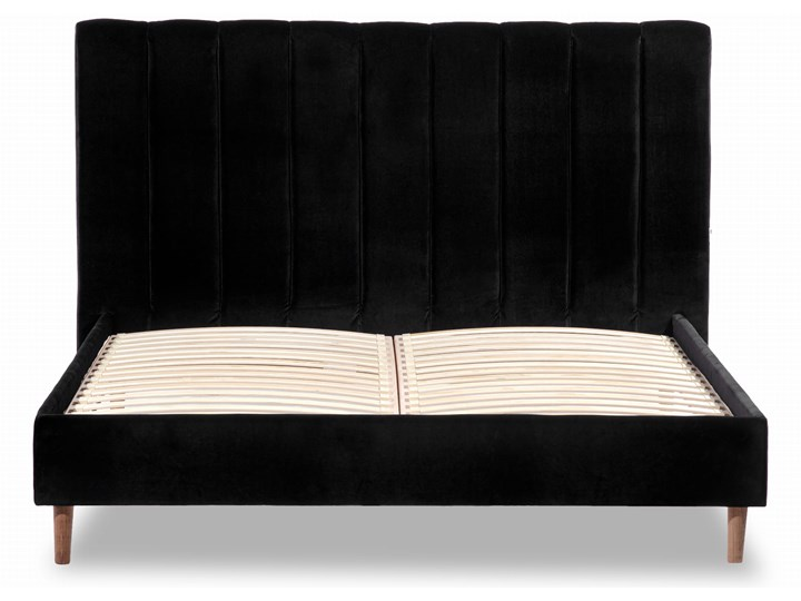 Łóżko Magnolia (160X200) welurowe (Welur bawełna 100% CZARNY :welur/CZARNY) Łóżko tapicerowane Pojemnik na pościel Bez pojemnika