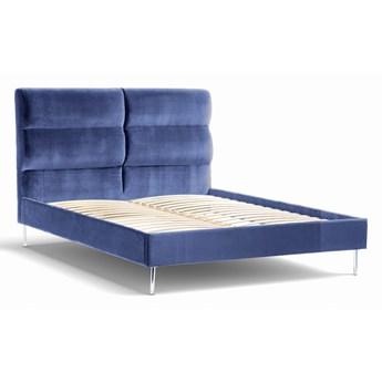 Łóżko Forsythian (160X200) welurowe  (Deluxe - welur łatwozmywalny INDIGO :deluxe/INDIGO)