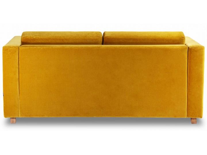 Sofa Narcisser 2-osobowa Welurowa z funkcją spania (Welur bawełna 100% CIEMNOZIELONY :welur/CIEMNOZIELONY) Kolor Żółty Stała konstrukcja Styl Skandynawski