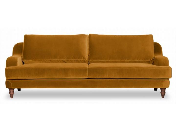 Sofa Mirar 3-osobowa welurowa (Welur bawełna 100% OLIWKOWY :welur/OLIWKOWY) Stała konstrukcja Styl Skandynawski