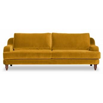 Sofa Mirar 3-osobowa welurowa (Welur bawełna 100% MUSZTARDOWY 2219 :welur/MUSZTARDOWY)