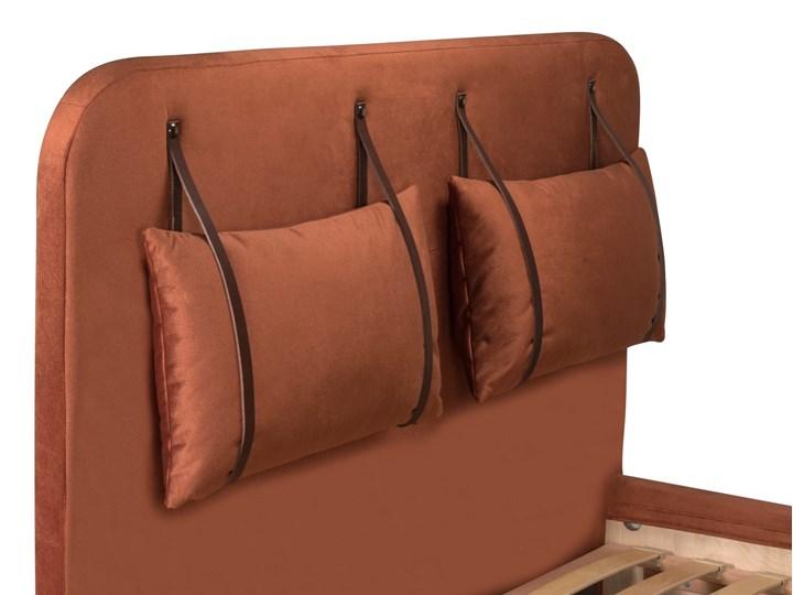 Łóżko Rejse (160x200) welurowe (Vocal - tkanina welwetowa:vocal/Vocal 08) Łóżko tapicerowane Styl Vintage Metal Drewno Ekoskóra Kolor Beżowy