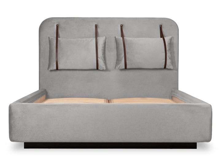 Łóżko Rejse (160x200) welurowe (Vocal - tkanina welwetowa:vocal/Vocal 08) Łóżko tapicerowane Drewno Zagłówek Z zagłówkiem Ekoskóra Metal Kolor Beżowy