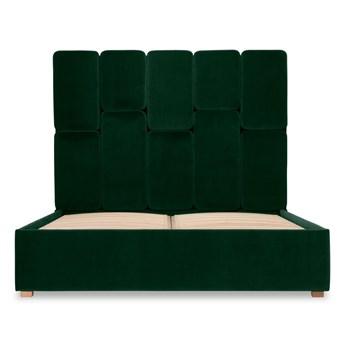 Łóżko Snödroppe (140x200) welurowe (Welur bawełna 100% CIEMNOZIELONY :welur/CIEMNOZIELONY)