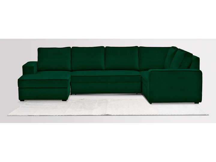 Narożnik Tulpaner U-Shape welurowy z funkcją spania i pojemnikiem na pościel (NAPOLI - welur łatwoczyszczący Zielony:napoli/ZIELONY 12) W kształcie litery U Funkcje Z pojemnikiem na pościel