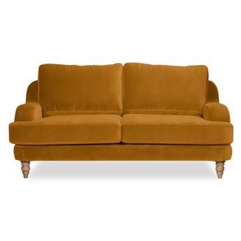 Sofa Mirar 2-osobowa Welurowa  (Welur bawełna 100% MUSZTARDOWY 2219 :welur/MUSZTARDOWY)