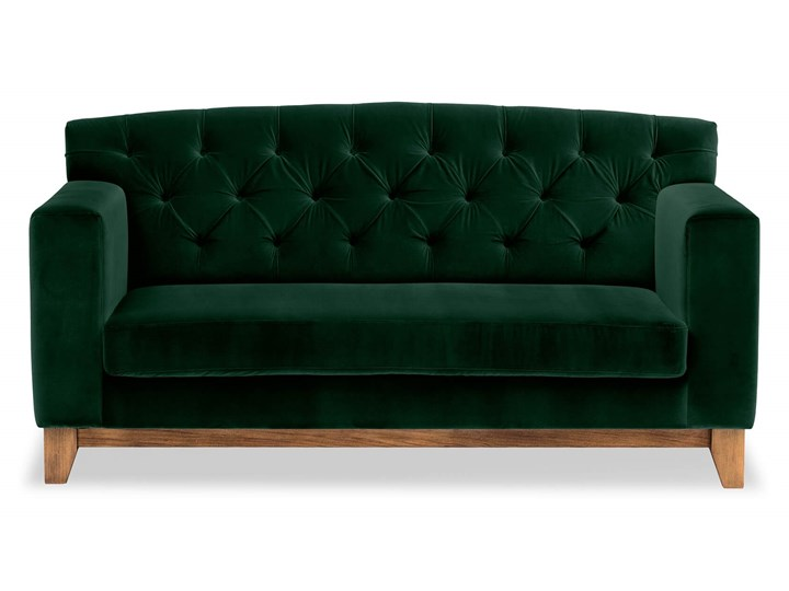 Sofa Ros 2-osobowa Welurowa (Welur bawełna 100% OLIWKOWY :welur/OLIWKOWY) Stała konstrukcja Kolor Zielony