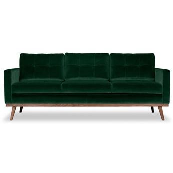 Sofa Fern 3-osobowa welurowa (Welur bawełna 100% CIEMNOZIELONY :welur/CIEMNOZIELONY)