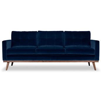 Sofa Fern 3-osobowa welurowa (Welur bawełna 100% |GRANATOWY :welur/GRANATOWY)