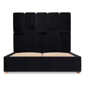 Łóżko Snödroppe (160x200) welurowe  (Welur bawełna 100% CZARNY :welur/CZARNY)