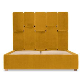 Łóżko Snödroppe (160x200) welurowe  (Welur bawełna 100% MUSZTARDOWY 2219 :welur/MUSZTARDOWY)