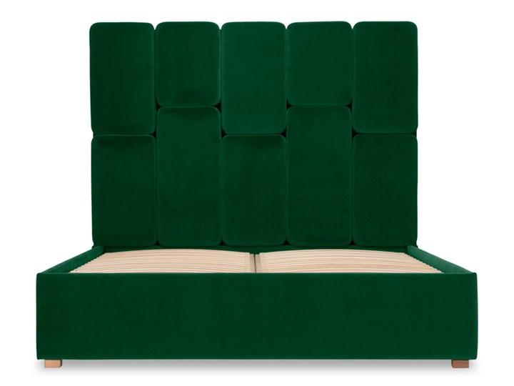 Łóżko Snödroppe (160x200) welurowe  (Welur bawełna 100% CIEMNOZIELONY :welur/CIEMNOZIELONY) Łóżko tapicerowane Rozmiar materaca 160x200 cm