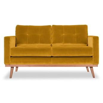 Sofa Fern 2-osobowa welurowa (Welur bawełna 100% MUSZTARDOWY 2219 :welur/MUSZTARDOWY)