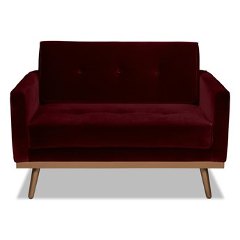 Mini sofa Klematisar Welurowa (Welur bawełna 100% BORDOWY :welur/BORDOWY)
