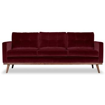 Sofa Fern 3-osobowa welurowa (Welur bawełna 100% BORDOWY :welur/BORDOWY)