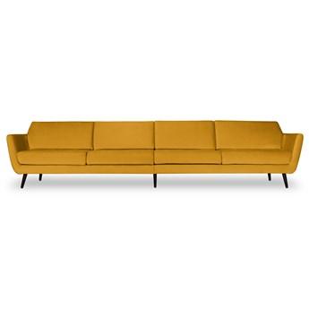 Sofa Aster 4-osobowa welurowa (Welur bawełna 100% MUSZTARDOWY 2219 :welur/MUSZTARDOWY)