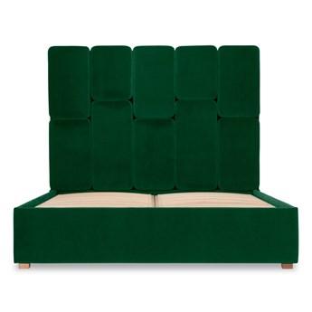 Łóżko Snödroppe (180x200) welurowe  (NAPOLI - welur łatwoczyszczący Zielony:napoli/ZIELONY 12)