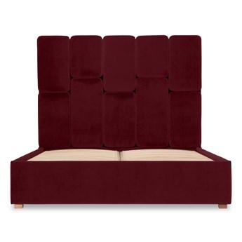 Łóżko Snödroppe (180x200) welurowe  (Welur bawełna 100% BORDOWY :welur/BORDOWY)