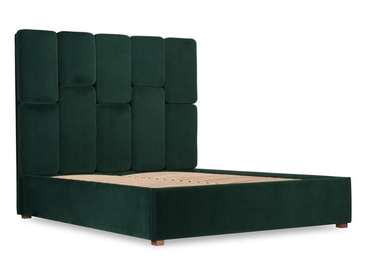 Łóżko Snödroppe (200x200) welurowe  (Welur bawełna 100% |GRANATOWY :welur/GRANATOWY) Łóżko tapicerowane Pojemnik na pościel Bez pojemnika