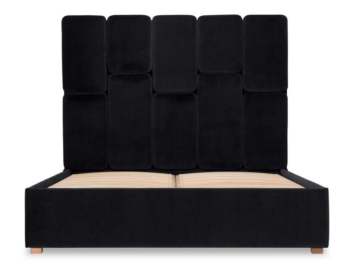 Łóżko Snödroppe (200x200) welurowe  (Welur bawełna 100% CZARNY :welur/CZARNY) Łóżko tapicerowane Pojemnik na pościel Bez pojemnika