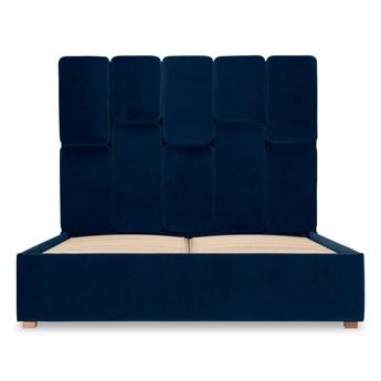 Łóżko Snödroppe (200x200) welurowe  (Welur bawełna 100% |GRANATOWY :welur/GRANATOWY)