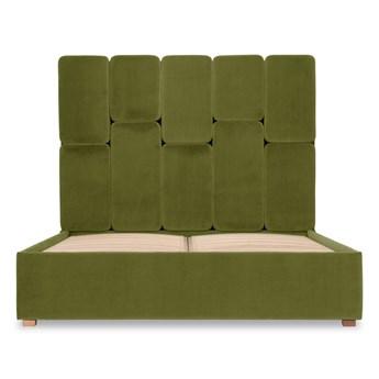 Łóżko Snödroppe (200x200) welurowe  (Welur bawełna 100% OLIWKOWY :welur/OLIWKOWY)