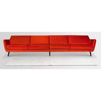 Sofa Aster 4-osobowa welurowa (Welur bawełna 100% CZARNY :welur/CZARNY)