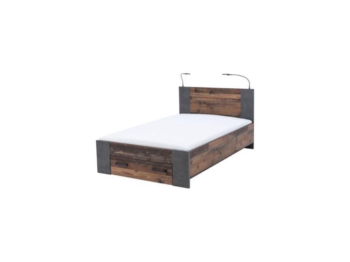 Salony Agata  Łóżko CLIF CLFL1141- C546 140x200 cm      140x200 Drewno Styl Industrialny Łóżko drewniane Kolor Brązowy