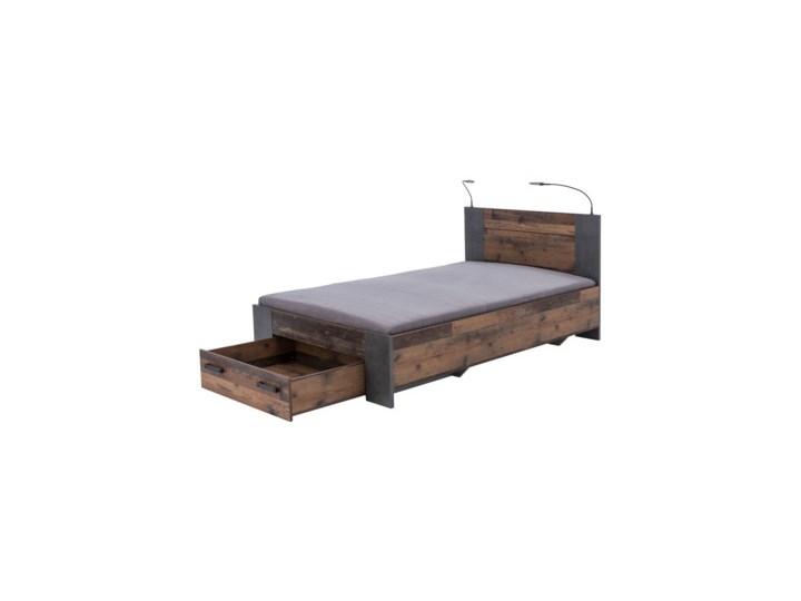 Salony Agata  Łóżko CLIF CLFL1141- C546 140x200 cm      140x200 Łóżko drewniane Drewno Styl Industrialny Kolor Brązowy
