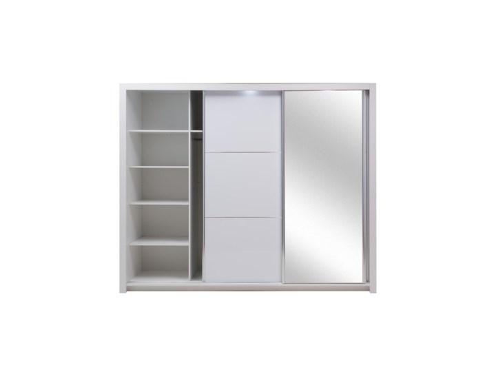 Salony Agata  Szafa SIENA 3D TYP 12 z oświetleniem Płyta laminowana Płyta MDF Kolor Biały Tworzywo sztuczne Ilość drzwi Trzydrzwiowe