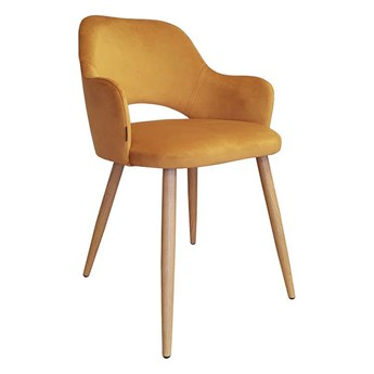 Yellow upholstered STAR chair MG-15 material with oak leg