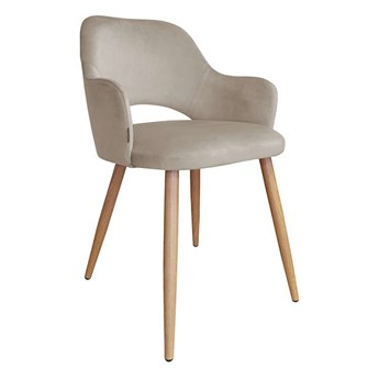 Gray-brown upholstered chair STAR MG-09 material with an oak leg