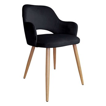 Black upholstered STAR chair MG-19 material with oak leg