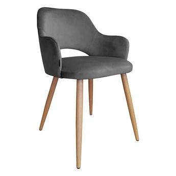Dark gray upholstered chair STAR BL-14 material with an oak leg