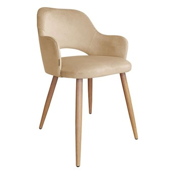 Beige upholstered chair STAR MG-06 material with an oak leg