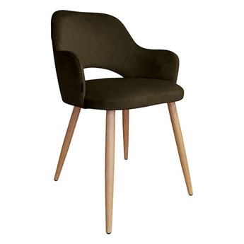 Brown upholstered chair STAR MG-05 material with an oak leg